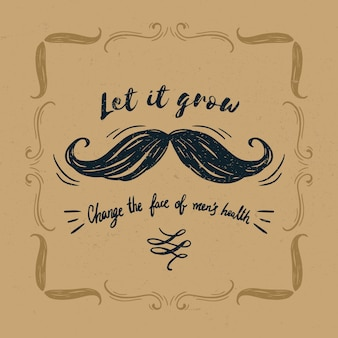 Movember mustache awareness background with lettering