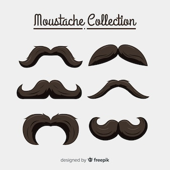 Movember mustache collection in different shapes in flat design