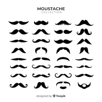 Movember mustache pack collection in flat design