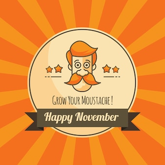 Movember orange background with badge