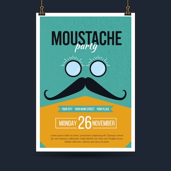 Movember poster template in flat design