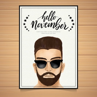 Movember poster template with hipster wearing sunglasses