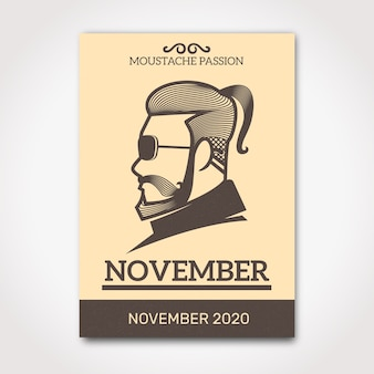 Movember poster with side view of hipster