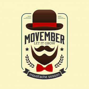 Movember prostate cancer awareness month. moustaches and blue ribbon background