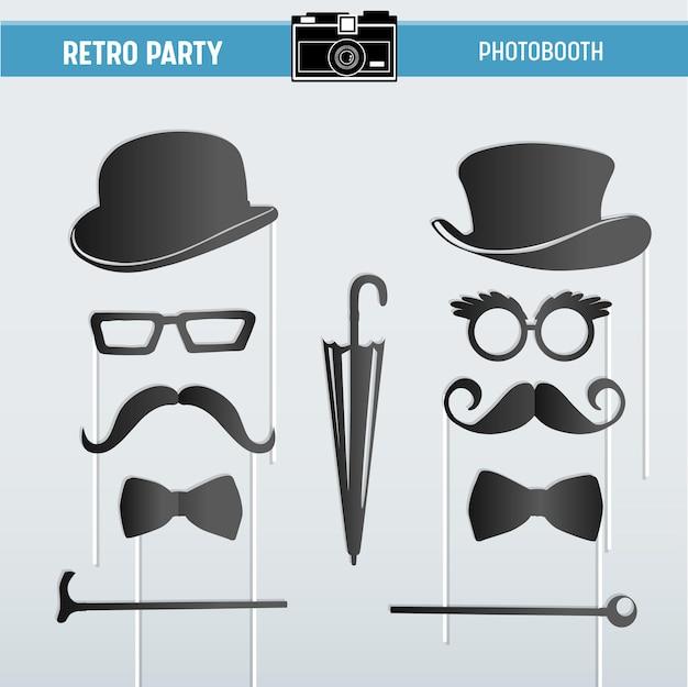 Очки, шляпы, усы, маски для вечеринок movember retro для печати в векторе