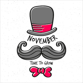 Movember time to grow background with hat, mustache and bow tie