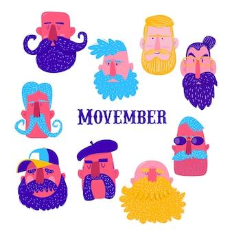 Movember。さまざまなひげを持つ男性の頭のセット