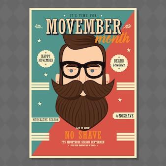 Movemberのポスターデザイン、前立腺がんの認識、ヒップスターマン、ひげとひげ