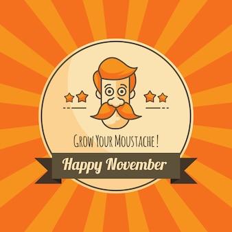 Movember оранжевый фон с значком
