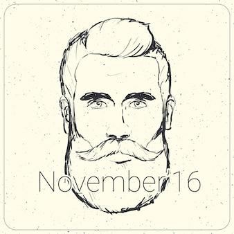 Movember карты с реалистичной мужской иллюстрации