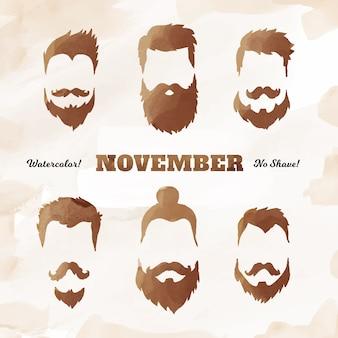 Movemberの光沢のある口ひげコレクション