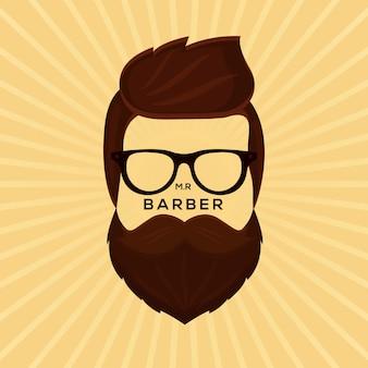 Фон с дизайном movember с бородкой-хипстером