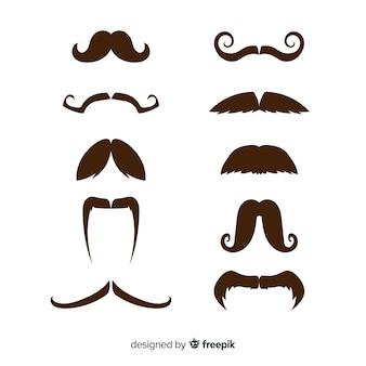 平らなデザインのさまざまな形のmovemberの口ひげコレクション