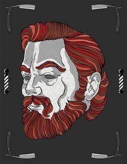 理髪師の赤い頭movember