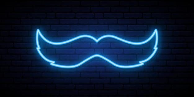 Movember明るい看板。ネオンブルーの口ひげ。