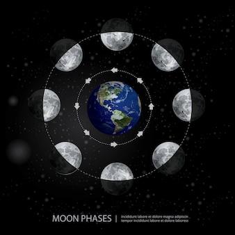 月の満ち欠けの動きリアルなイラスト