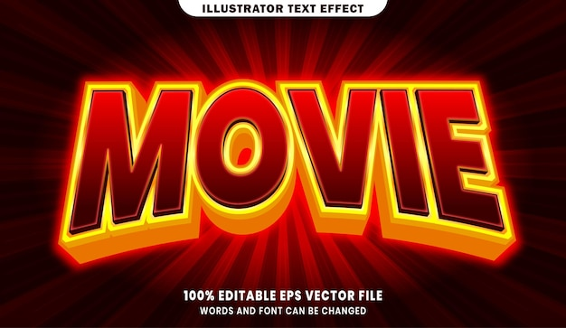 Movie 3d editable text style effect