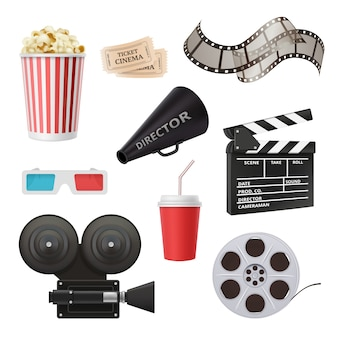 Movie 3d icons, camera cinema stereo glasses popcorn clapper and megaphone for film production realistic