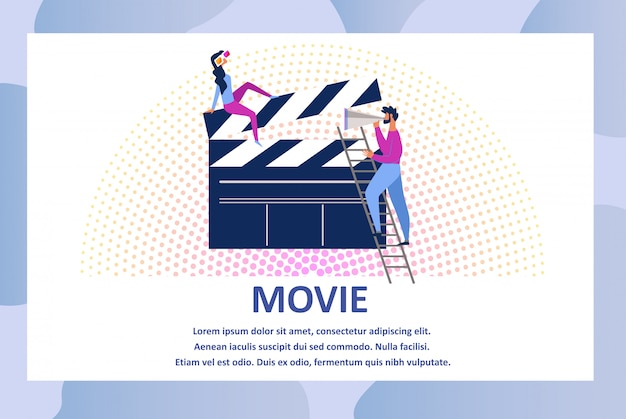 Movie action and film production, clapperboard