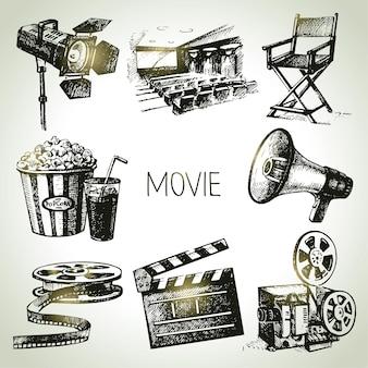 영화와 영화 세트입니다. 손으로 그린 빈티지 삽화