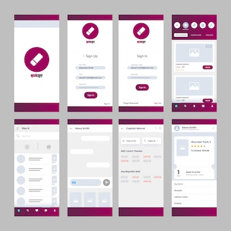 Movie app ui kit for responsive mobile app.