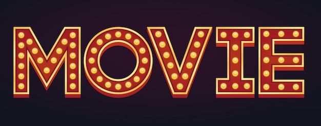 Movie banner alphabet sign marquee light bulb vintage