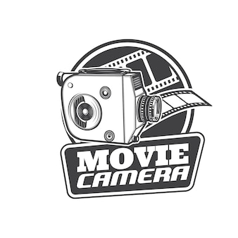 Movie camera icon, retro cinema and vintage video film, vector sign. old classic reel movie camera, cinematography and motion picture equipment, television video camcorder and movie theater symbol