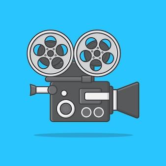 Movie camera illustration. movie and film flat