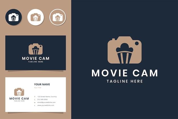 Movie camera negative space logo design