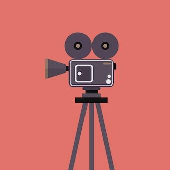 삼각대에 영화 카메라