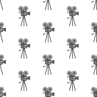 Movie camera seamless pattern on a white background. film theme vector illustration