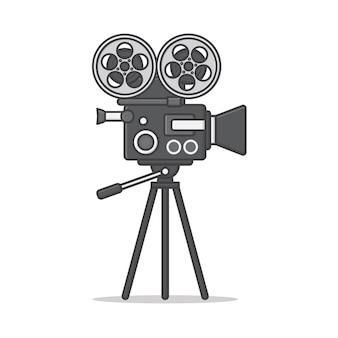 Movie camera on a tripod  icon illustration. movie and film flat icon