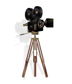 영화 카메라. 흰색 바탕에 빈티지 영화 카메라입니다. 벡터 eps 10입니다.