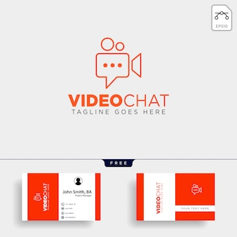 Movie chat media video talk entertainment simple line logo template vector illustration icon element