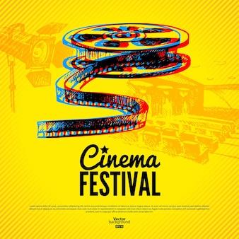 映画館フェスティバルのポスター。手描きのスケッチイラストとベクトルの背景