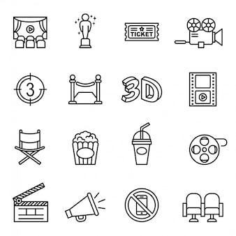 Movie, cinema, film icons set thin line style stock vector.