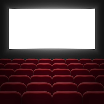 Movie cinema hall with white screen and red row chairs