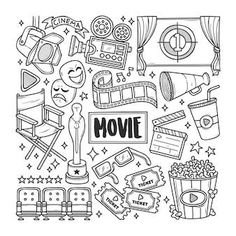 Movie cinema hand drawn doodle coloring
