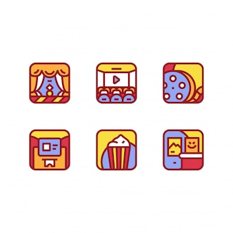Movie cinema icon illustration isolated vector collection