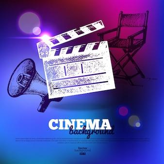영화 영화 포스터입니다. 손으로 그린 스케치 삽화와 조명 효과가 있는 배경