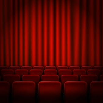 Movie cinema premiere poster design with red curtains.