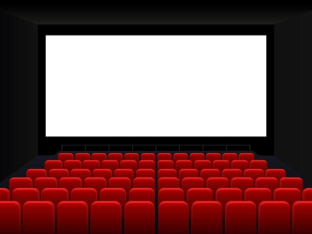 Movie cinema premiere poster design with white screen cinema screen movie theater vector background