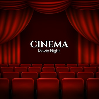 Movie cinema premiere with red curtains.
