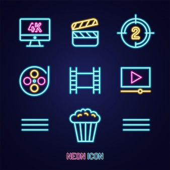 Movie or cinema set simple luminous neon outline colorful icon on blue
