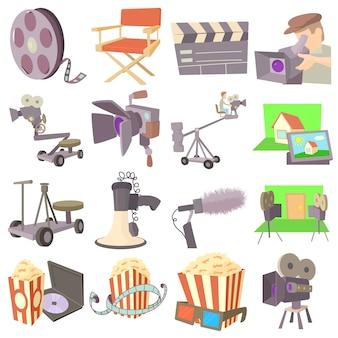 Movie cinema symbols icons set