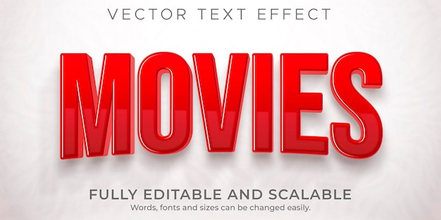 Movie cinema text effect editable film and show style