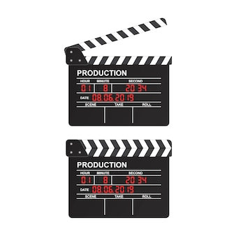 Movie clapper board illustration isolated on white