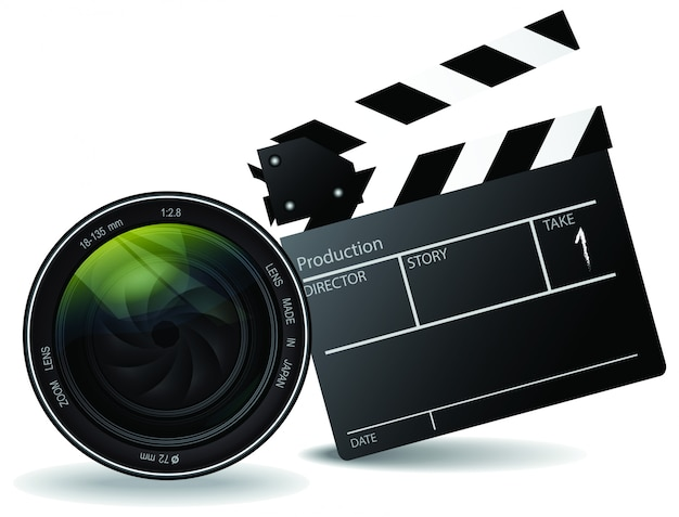 Movie clapper board and lens vector, movie and entertainment concept