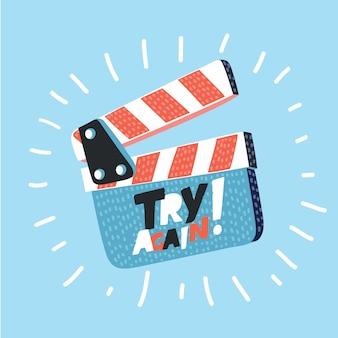 長い影を背景に映画クラッパーボード。カチンコを開きます。撮影のコンセプトです。監督の指示、プロデューサーのテンプレート。イラスト。