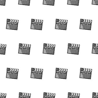 Фильм клаппер совет бесшовные узор на белом фоне. кино тема векторные иллюстрации